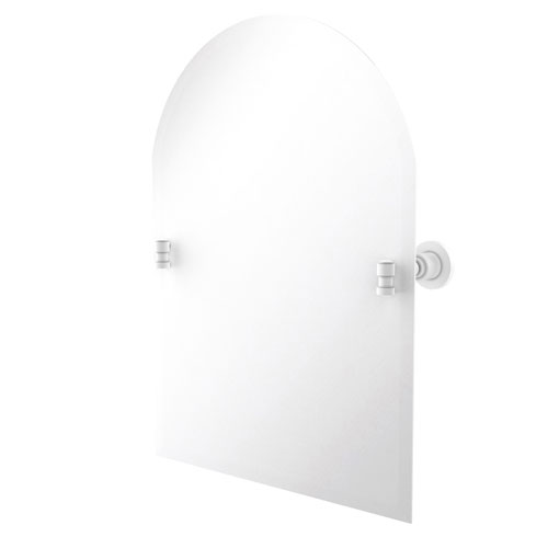 Washington Square Matte White 21-Inch Frameless Arched Top Tilt Mirror with Beveled Edge