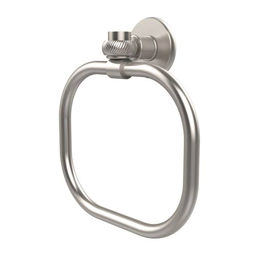 Allied Brass Continental Collection Towel Ring with Twist Accents, Satin Nickel