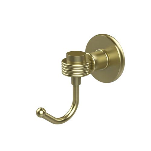 Continental Collection Robe Hook with Groovy Accents, Satin Brass