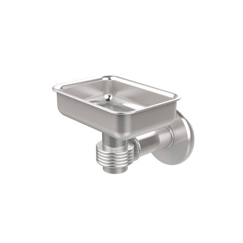 Continental Collection Wall Mounted Soap Dish Holder with Groovy Accents, Satin Chrome