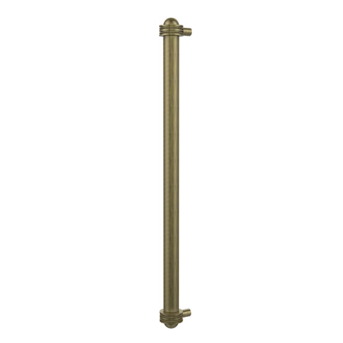 18 Inch Refrigerator Pull with Dotted Accents, Antique Brass