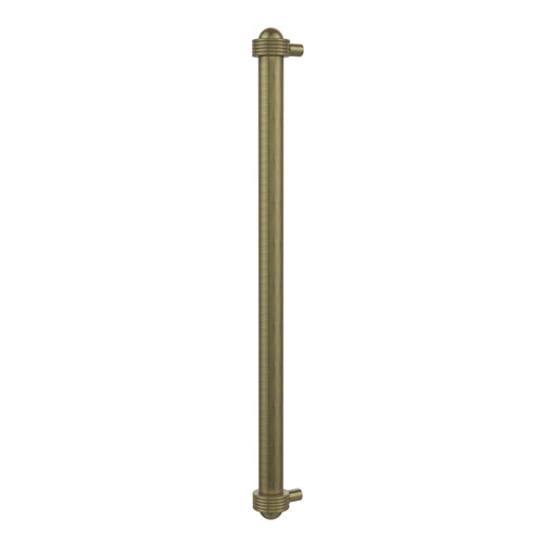 18 Inch Refrigerator Pull with Groovy Accents, Antique Brass