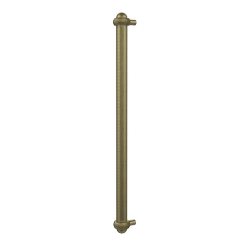 18 Inch Refrigerator Pull with Twisted Accents, Antique Brass