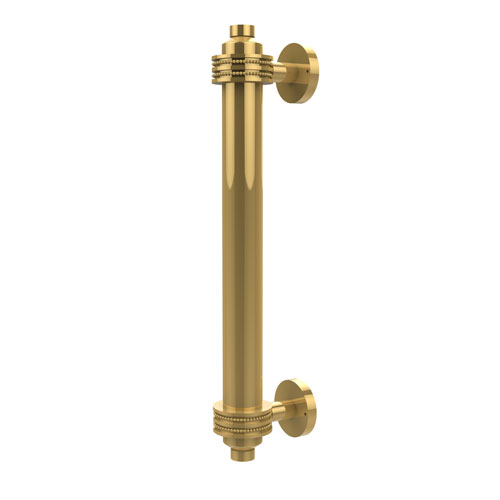 8 Inch Door Pull with Dotted Accents, Unlacquered Brass