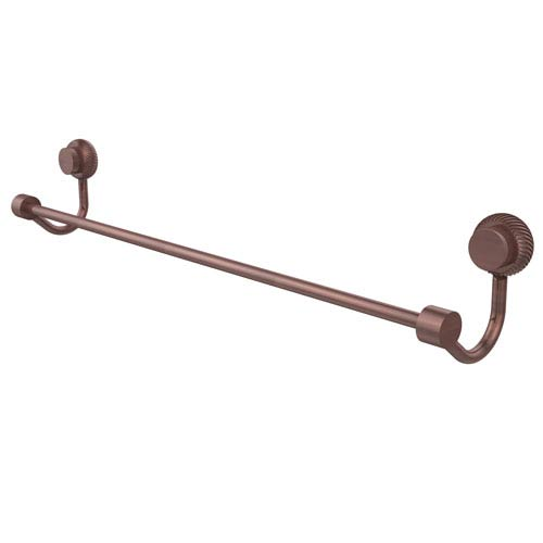 Venus Collection 36 Inch Towel Bar with Twist Accent, Antique Copper