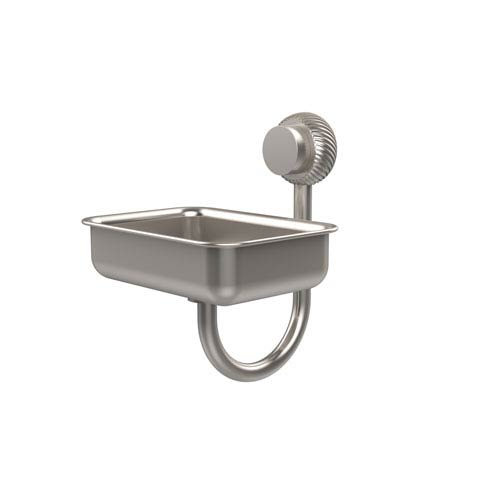 Allied Brass Venus Collection Wall Mounted Soap Dish with Twisted Accents, Satin Nickel
