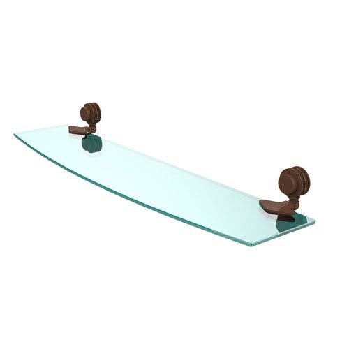 Venus Collection 24 Inch Glass Shelf with Dotted Accents, Antique Bronze