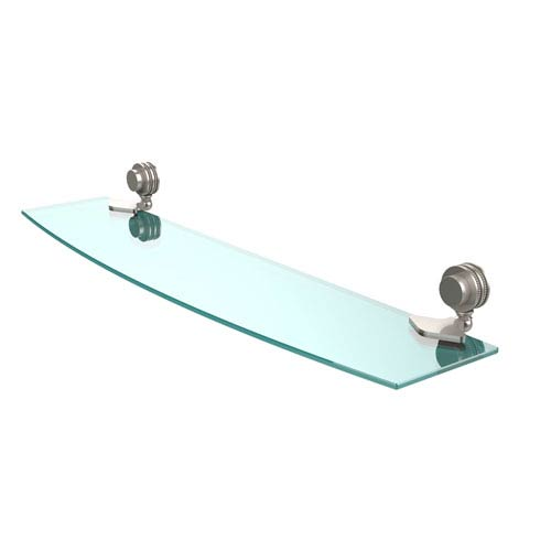Venus Collection 24 Inch Glass Shelf with Dotted Accents, Satin Nickel