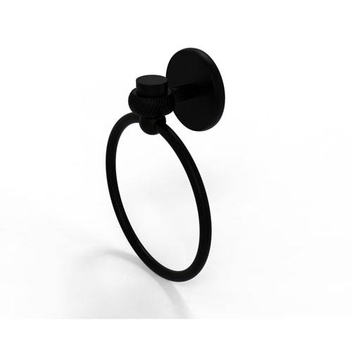 Satellite Orbit One Collection Towel Ring with Twist Accent, Matte Black