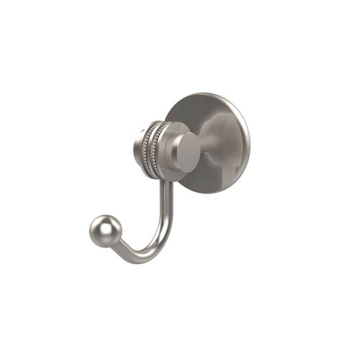 Allied Brass Satellite Orbit Two Collection Robe Hook with Dotted Accents, Satin Nickel