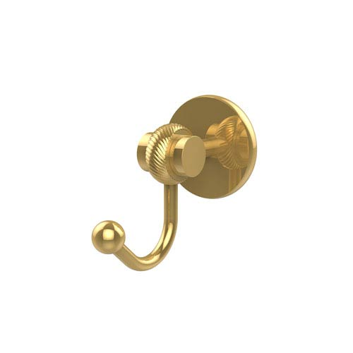 Allied Brass Satellite Orbit Two Collection Robe Hook with Twisted Accents, Unlacquered Brass