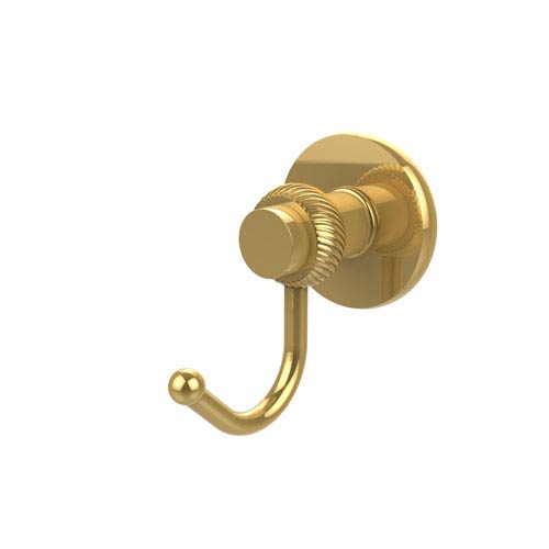 Mercury Collection Robe Hook with Twisted Accents, Polished Brass