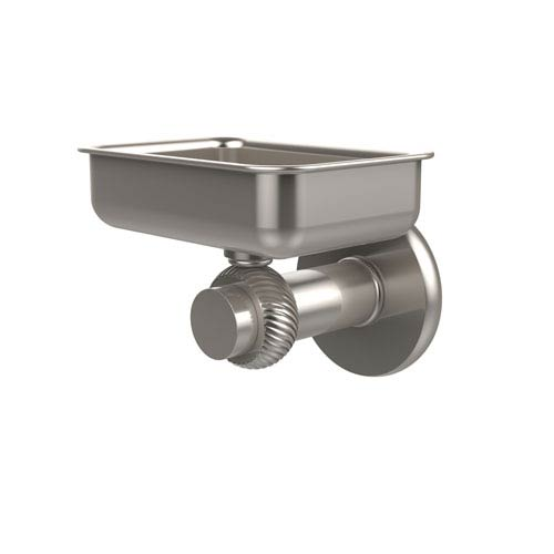 Mercury Collection Wall Mounted Soap Dish with Twisted Accents, Satin Nickel