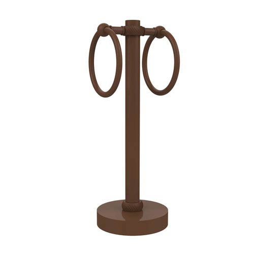 Vanity Top 2 Towel Ring Guest Towel Holder with Twisted Accents, Antique Bronze
