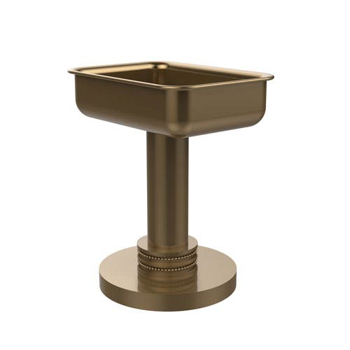 Vanity Top Soap Dish with Dotted Accents, Brushed Bronze