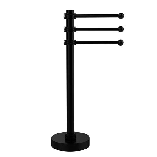 Vanity Top 3 Swing Arm Guest Towel Holder with Dotted Accents, Matte Black
