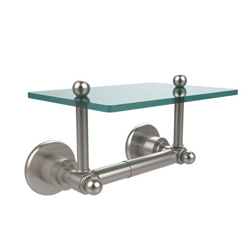 Allied Brass Astor Place Collection Two Post Toilet Tissue Holder with Glass Shelf, Satin Nickel