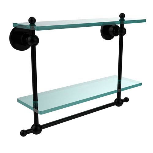 Allied Brass Astor Place Matte Black 16 Inch Double Glass Shelf with Towel Bar
