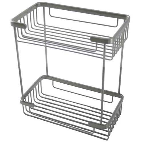 Satin Nickel Double Rectangular Shower Basket