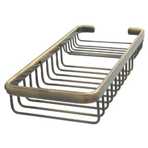 Antique Brass Large Rectangular Shower Basket