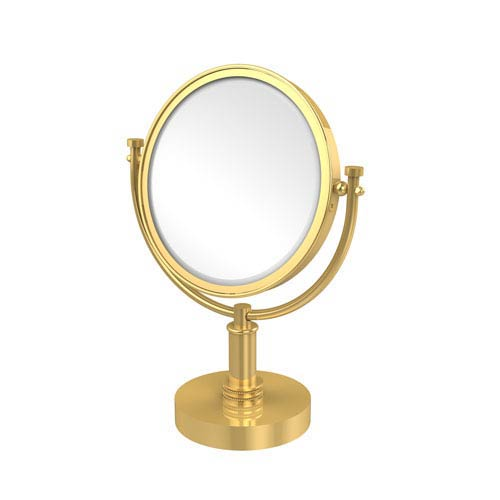 8 Inch Vanity Top Make-Up Mirror 2X Magnification, Unlacquered Brass