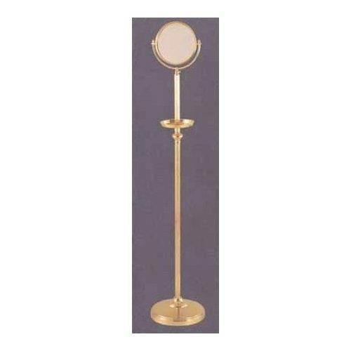 Polished Brass 8 Inch Floor Mirror 3X Magnification