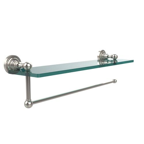 Dottingham Collection Paper Towel Holder with 16 Inch Glass Shelf, Polished Nickel