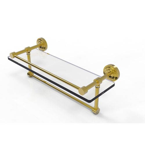 Dottingham 16 Inch Gallery Glass Shelf with Towel Bar, Unlacquered Brass