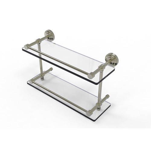 Allied Brass Dottingham 16 Inch Double Glass Shelf with Gallery Rail, Polished Nickel