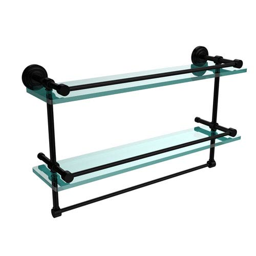 Dottingham 22 Inch Gallery Double Glass Shelf with Towel Bar, Matte Black