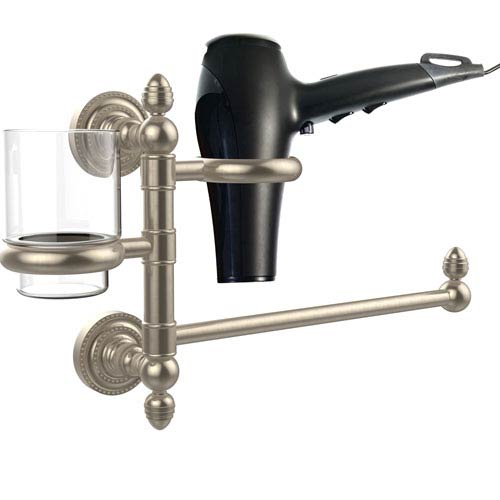 Dottingham Collection Hair Dryer Holder and Organizer, Antique Pewter