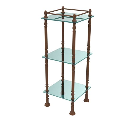 Three Tier Etagere with 14 Inch x 14 Inch Shelves, Antique Bronze