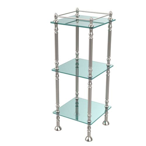 Three Tier Etagere with 14 Inch x 14 Inch Shelves, Satin Nickel
