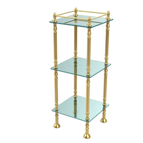 Three Tier Etagere with 14 Inch x 14 Inch Shelves, Unlacquered Brass
