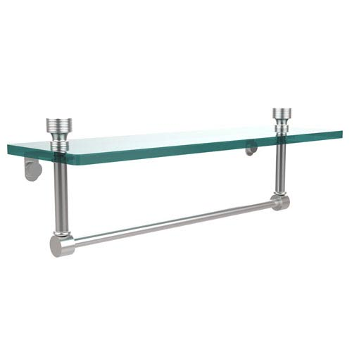 Foxtrot Satin Chrome Single Shelf with Towel Bar