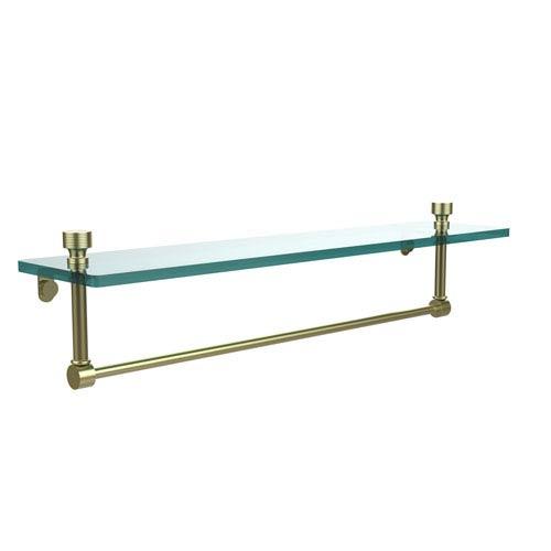 Satin Brass Single Shelf with Towel Bar