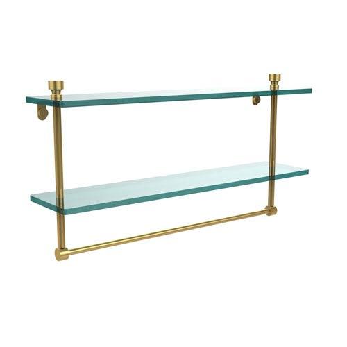 Foxtrot Polished Brass Double Shelf with Towel Bar