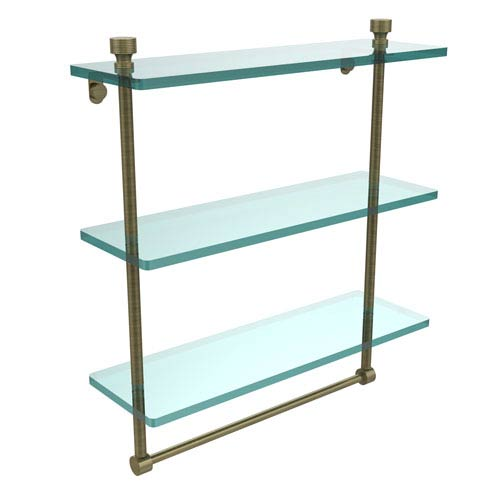 Allied Brass Foxtrot Collection 16 Inch Triple Tiered Glass Shelf with Integrated Towel Bar, Antique Brass