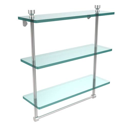 Allied Brass Foxtrot Collection 16 Inch Triple Tiered Glass Shelf with Integrated Towel Bar, Satin Chrome