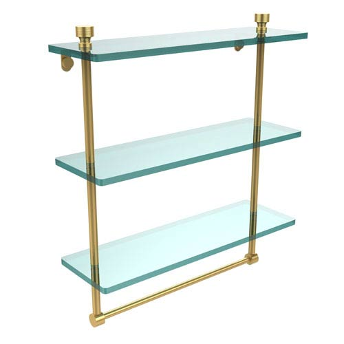Foxtrot Collection 16 Inch Triple Tiered Glass Shelf with Integrated Towel Bar, Unlacquered Brass