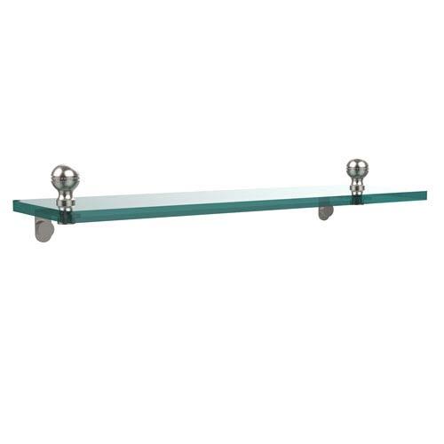Mambo 16 Inch Glass Vanity Shelf with Beveled Edges, Satin Nickel