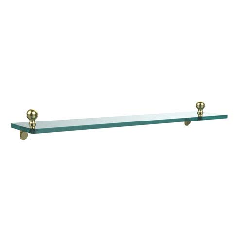 Mambo 22 Inch Glass Vanity Shelf with Beveled Edges, Satin Brass