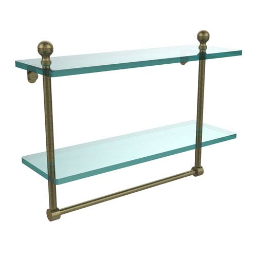 Mambo Collection 16 Inch Two Tiered Glass Shelf with Integrated Towel Bar, Antique Brass
