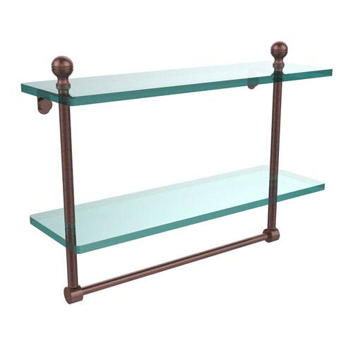 Mambo Collection 16 Inch Two Tiered Glass Shelf with Integrated Towel Bar, Antique Copper