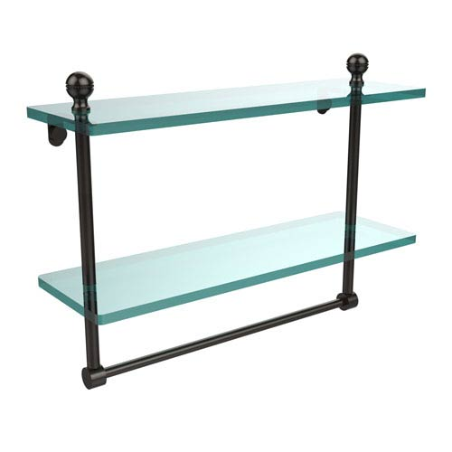 Allied Brass Mambo Collection 16 Inch Two Tiered Glass Shelf with Integrated Towel Bar, Oil Rubbed Bronze