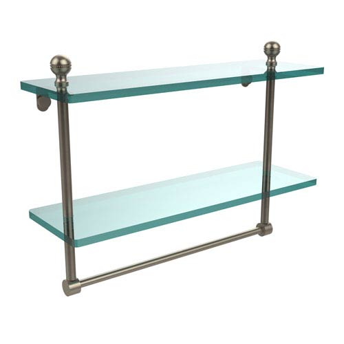 Allied Brass Mambo Collection 16 Inch Two Tiered Glass Shelf with Integrated Towel Bar, Antique Pewter