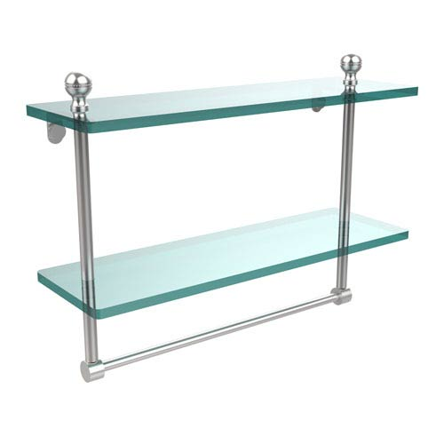 Mambo Collection 16 Inch Two Tiered Glass Shelf with Integrated Towel Bar, Satin Chrome
