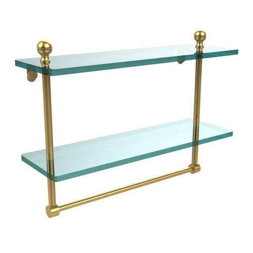 Mambo Collection 16 Inch Two Tiered Glass Shelf with Integrated Towel Bar, Unlacquered Brass