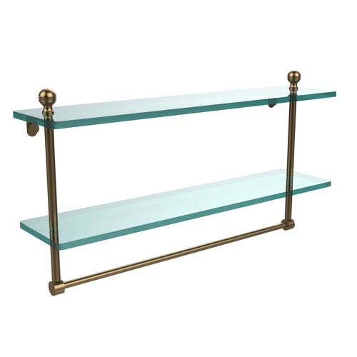 Allied Brass Mambo Collection 22 Inch Two Tiered Glass Shelf with Integrated Towel Bar, Brushed Bronze