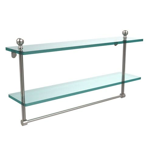 Mambo Collection 22 Inch Two Tiered Glass Shelf with Integrated Towel Bar, Satin Nickel